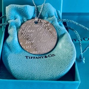 """Tiffany & Co. HUGE Wavy Notes Disc on 18"""" Chain"""